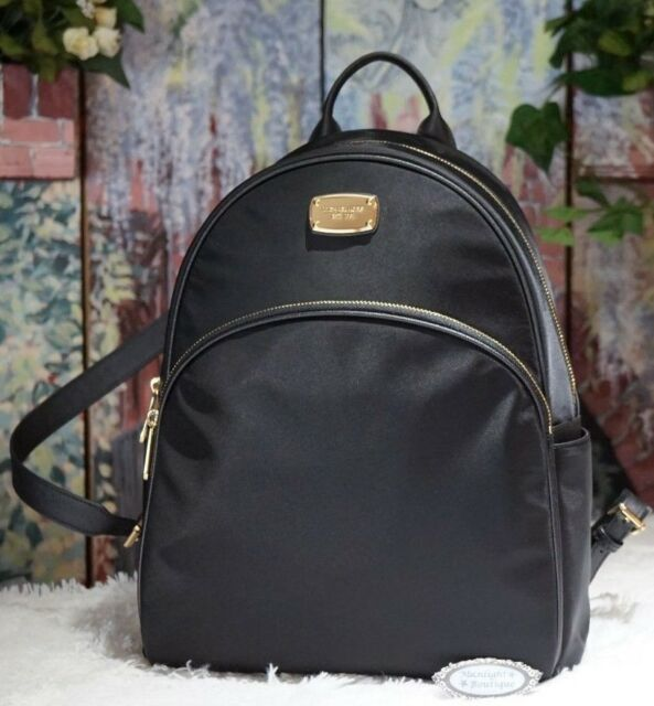 5aefabe96cf0 NWT MICHAEL KORS ABBEY LARGE Backpack Shoulder Bag In BLACK NYLON/ Leather  $278