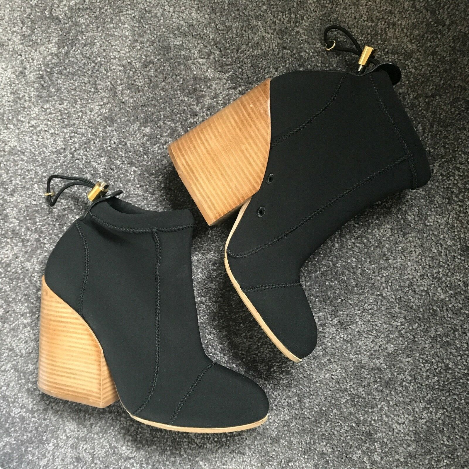 Chloe Neoprene Bungee Ankle Boots Boots Boots with Wooden Stacked Heel 41 72f201
