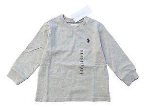 RALPH LAUREN baby boy LS T-Shirt 0/3M 9/12M light grey cotton (60 80cm) BNWT