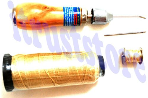LEATHER HAND SINGLE STITCH SEW SEWING AWL TOOL NEEDLE STITCHING WITH THREAD