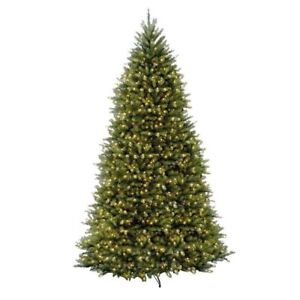 Christmas Tree Dunhill Fir Hinged Prelit 1500 CLear Lights Artificial 12 Foot