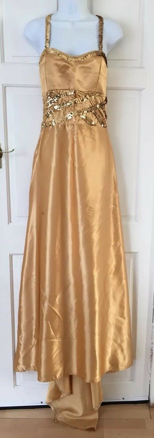 Fishtail Mermaid Sequin Embellished gold Wedding Prom Dress with scarf Size 8
