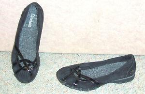 Women-039-s-black-leather-upper-SKECHERS-slip-on-flats-shoes-sz-8-5