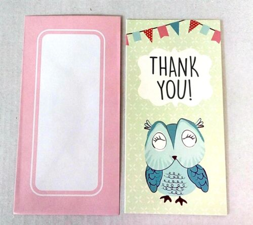 16 Thank You Cards Designs cardboard OWL Pink Castle Balloons Butterflies
