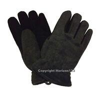 Heat-lock Insulated-deer Skin Suede Leather Heatlok Gloves-black-gray-large