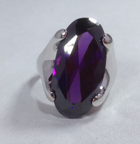 solid Sterling Silver Small size purple large stone oval Chunky ring uk size J
