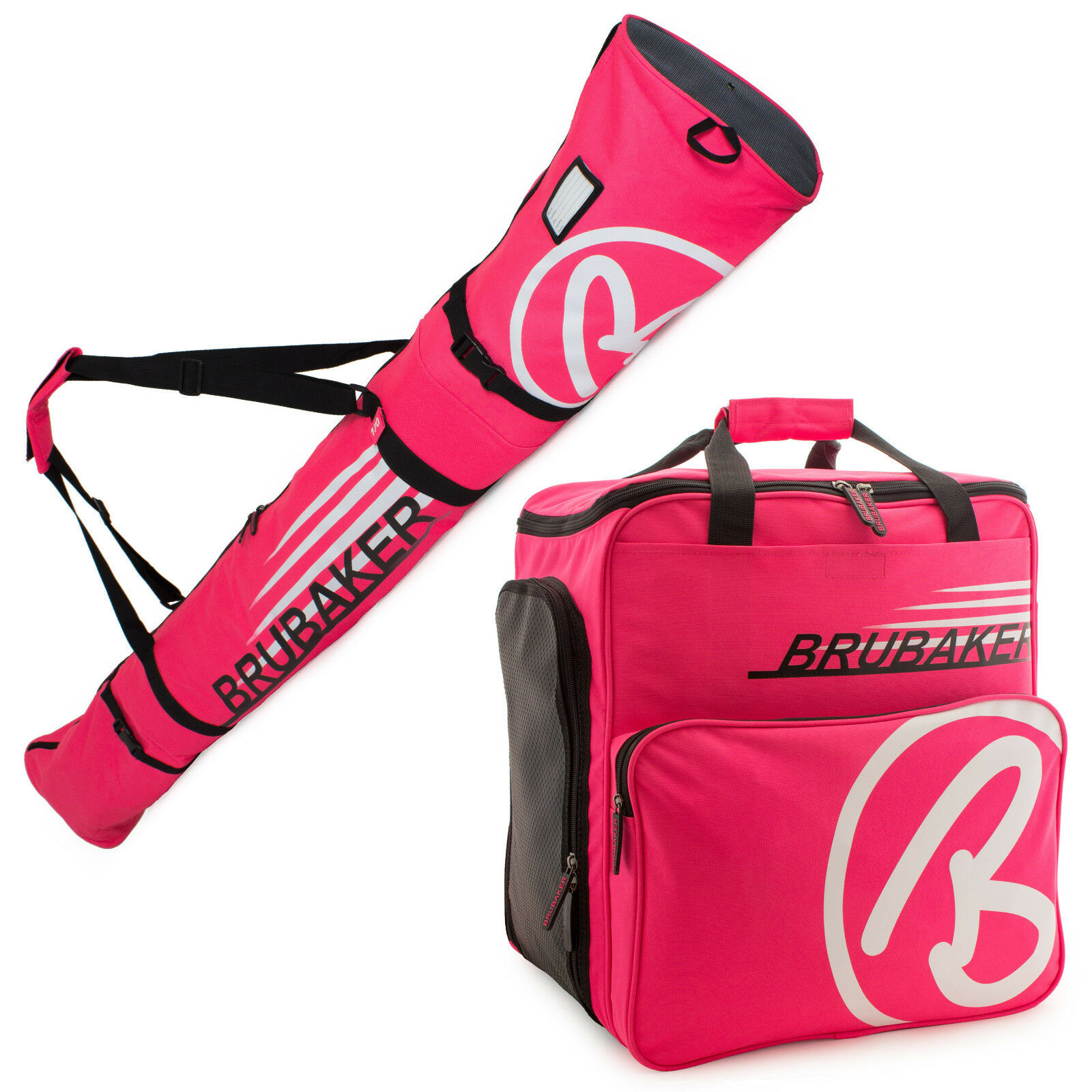 BRUBAKER 'Champion' Combo Boot Bag + Ski Bag Hot Pink White 170 or 190 cm