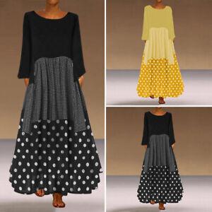 Womens-Polka-Dot-Long-Sleeve-Party-Vintage-Dresses-Caaual-Long-Dress-Plus-Size
