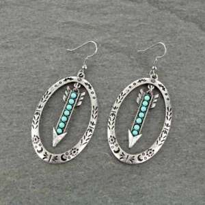 Navajo Turquoise /& Sterling Silver Thunderbird Arrow Dangles Signed