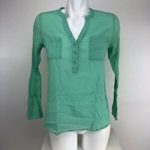 Old-Navy-Womens-3-4-Sleeve-Button-Up-Pocket-Blouse-Sz-XS-Mint-Green