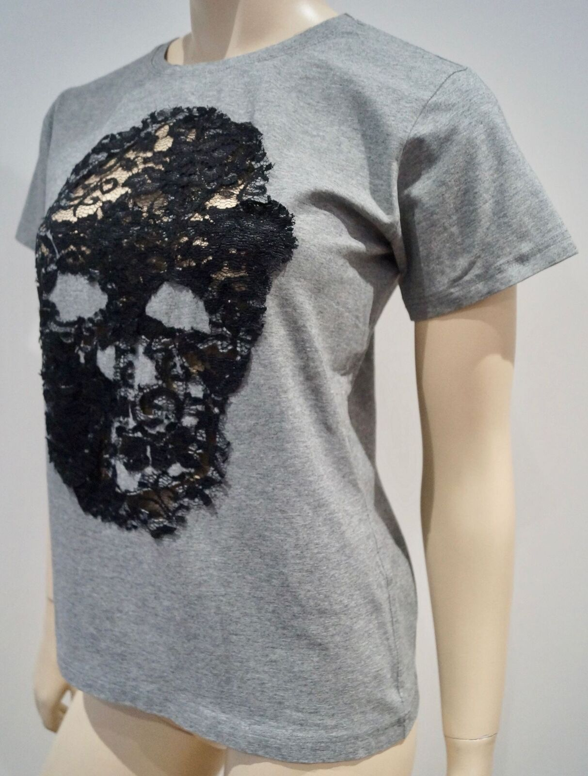 BUI DE BARBARA BUI grau Cotton schwarz Lace Skull Short Sleeve T-Shirt Tee Top S