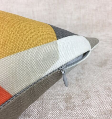 "Reversible  Geometrical SCION /""PUCCI/"" Fabric STONE//CHILLI//GLOW Cushion Cover"