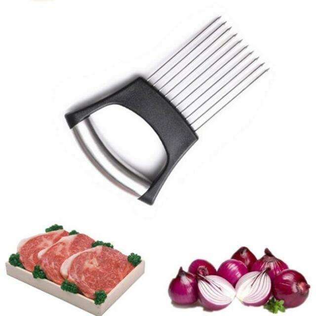 Vegetable Cutter Kitchen Gadget Stainless Steel Easy Onion Holder Slicer Tools Y