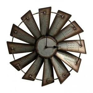 """Windmill Wall Clock Western Rustic Home Decor Country 14.5"""" Farmhouse Gift New"""