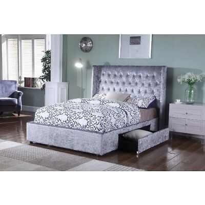 Brand New 2018 4FT6 Sienna Silver Crushed Velvet Fabric Upholstered 2 Draw Bed