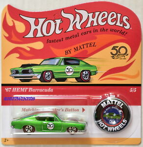Unpunched 2018 Hot Wheels 50th ANNIVERSARY REDLINES /'67 Hemi Barracuda 5//5