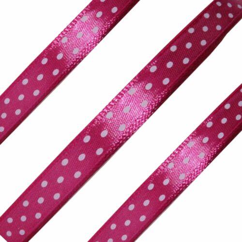 10mm Spotty POLKA DOT SATIN Ribbon 10m Craft Decor Colours