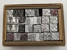 New Listingvintage Antique 28 Piece Letterpress Type Printers Block Christmas Flower Tree