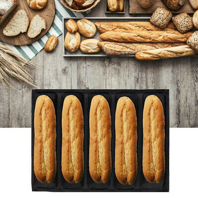 French Bread Baking Mould with Non Stick Perforated French Stick Loaf Baking Pan for 3 Baguettes Grey XINRANFF Baguette Baking Tray Silicone