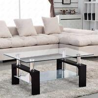 Moden Glass Coffee Table Rectangular Chrome Black Wood Living Room Furniture