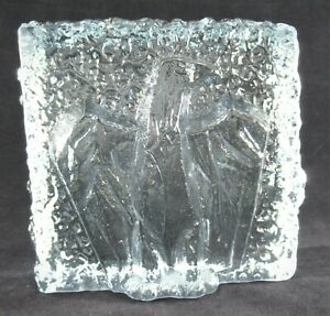 Ice-Block-Paperweight-Hand-Blown-Art-Glass-Textured-with-Relief-Eagle-Blue-Tint