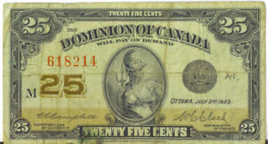 Dominion-of-Canada-1923-25-Cents-Shinplaster-Campbell-Clark-No-Authorized-VG
