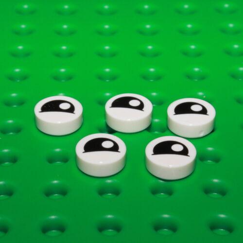 weiß Auge Pupille 98138pb027 LEGO® 5x Fliese 1x1 rund