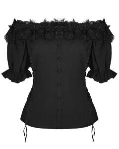Punk-Rave-Pyon-Womens-Gothic-Gypsy-Top-Black-Steampunk-Lolita-VTG-Boho-Victorian