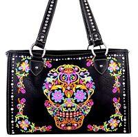 Montana Westfloral Embroidered Sugar Skull Handbag Toteblinggothicpunkblack