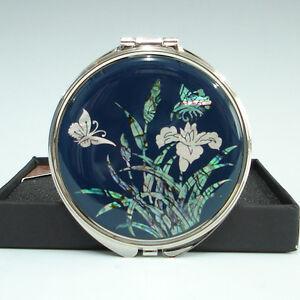 Miroir /à main Art d/éco Nacre Design Fleurs et Papillons