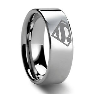 8mm bridal mens superman tungsten engagement ring ceremony - Superman Wedding Ring