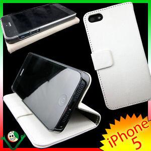 Pellicola-Custodia-BOOK-per-iPhone-5-5S-SE-BIANCA-cover-martellata-sottile-STAND