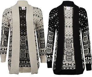 Details about New Womens Ladies Owl Print Knitted Long Sleeve Jumper Open Cardigan 8 10 12 14