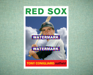 Tony Conigliaro Boston Red Sox 1964 Style Custom Baseball Art Card