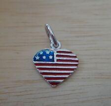 Sterling Silver 14x13mm Enamel Red White Blue US Flag Heart Charm