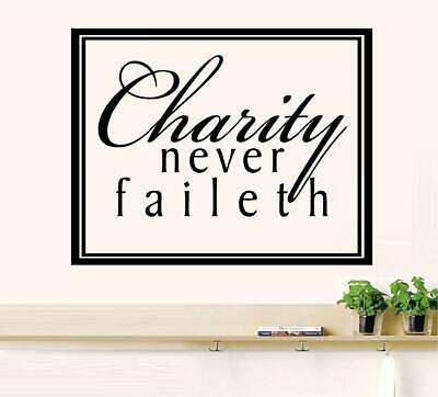 Wall Decal Sticker Quote Vinyl Decorative Kindness Charity is Never Wasted J55