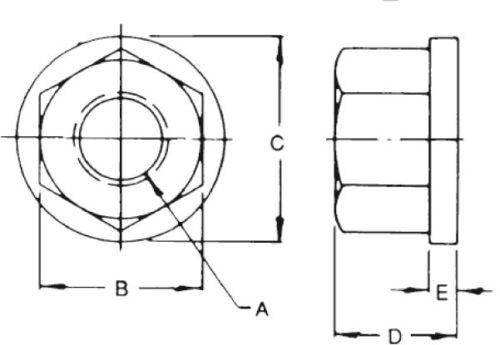 US Made Steel Flange Nuts; 1-1//4-7 Thread; 15011 Northwestern Tools Nut; 2 pcs