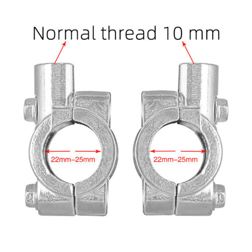 "2Pcs 10mm Handlebar Mounting Clamp Aluminum 7//8/"" 22mm Mirrors Motorcycle Silver"