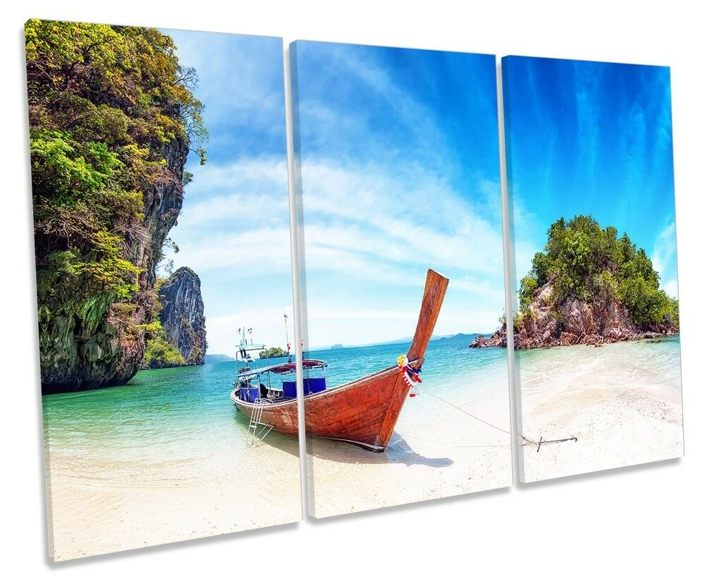 Paradise Beach Thailand Picture TREBLE CANVAS WALL ART Print