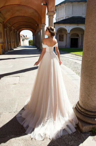 Tulle and Lace Off the Shoulder Spring Wedding Dress Corset Bridal Dress Gown