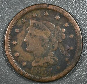 1851-F-to-VF-Braided-Hair-Large-Cent-American-Copper-Cent-USA-Currency