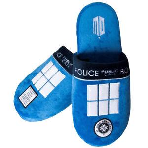 Doctor Who Tardis Slippers Hausschuhe Luxus Lizenz Pantoffeln blau neu