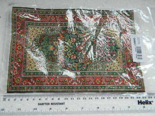 escala 1//12th Casa De Muñecas gran estilo turco Verde Alfombra con dibujos CP16