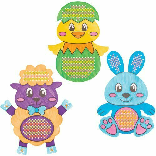 5 EASTER Cross Stitch Kids Craft Beginners Sewing Gift Display EGG BUNNY CHICK