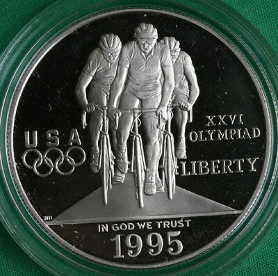 1995 Olympics Cycling Proof Silver Dollar Commemorative US Mint Coin ONLY