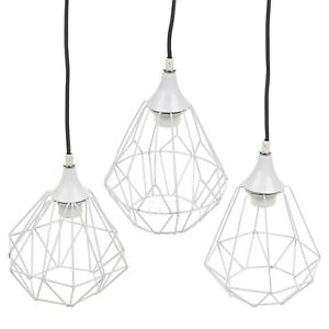 Image Is Loading Modern White Geometric Metal Wire Hanging Ceiling Light