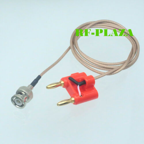 Cable BNC male Q9 to dual double banana plug 4mm Test Probe Leads RG316 100CM
