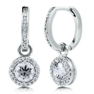 BERRICLE-Sterling-Silver-Round-CZ-Halo-Anniversary-Wedding-Dangle-Drop-Earrings