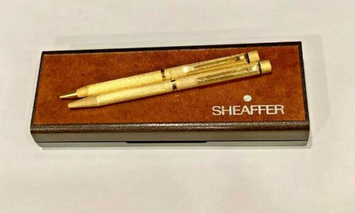 Vintage Sheaffer White Dot Gold Plated Set of Pen and Pencil