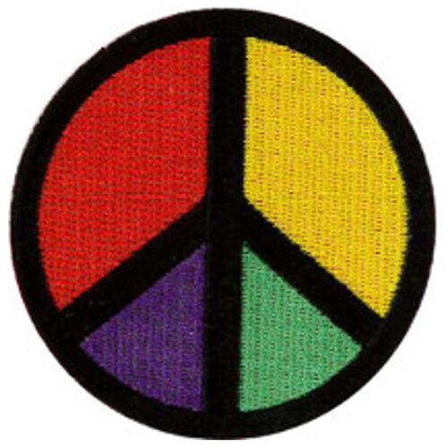 "3/"" DIA/"" PEACE //CND  MULTICOLOURED EMBROIDERED PATCH 7.5CMDIA"